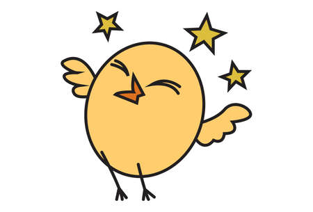 Vector cartoon illustration. Cute chick is flying. Isolated on white background.