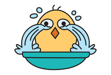 Vector cartoon illustration. Cute chick is crying. Isolated on white background.