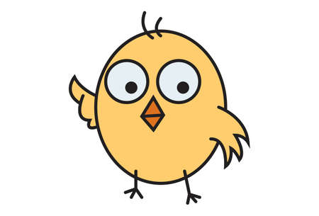 Vector cartoon illustration of a cute chick. Isolated on white background.