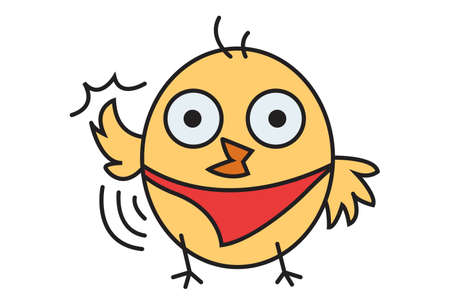 Vector cartoon illustration. Cute chick is waving its wings. Isolated on white background. Vettoriali