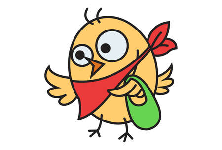 Vector cartoon illustration. Cute chick is holding a bag in hand. Isolated on white background.