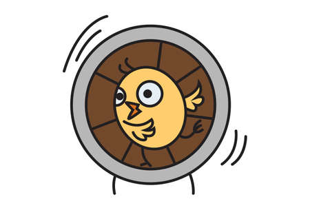Vector cartoon illustration. Cute chick is running on a wheel. Isolated on white background.
