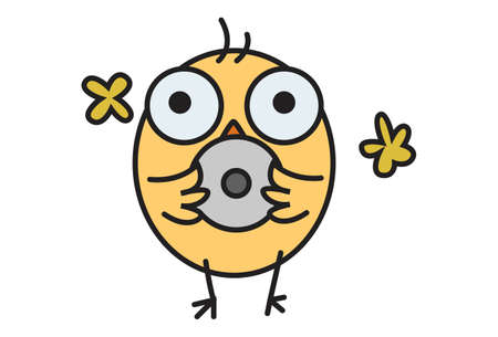 Vector cartoon illustration. Cute chick is shocked. Isolated on white background. Vettoriali