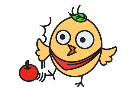 Vector cartoon illustration. Cute chick is with tomato. Isolated on white background.