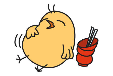 Vector cartoon illustration. Cute chick is sleeping with stomach full. Isolated on white background.