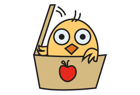 Vector cartoon illustration. Cute chick is hiding in the apple box. Isolated on white background.
