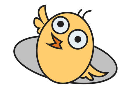 Vector cartoon illustration. Cute chick is playing. Isolated on white background.