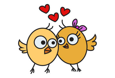 Vector cartoon illustration. Cute chick is in love. Isolated on white background.