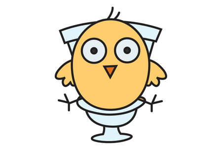 Vector cartoon illustration. Cute chick is sitting on a toilet seat. Isolated on white background.