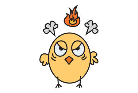 Vector cartoon illustration. Cute chick is getting angry. Isolated on white background.