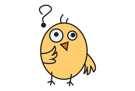 Vector cartoon illustration. Cute chick is in doubt. Isolated on white background.