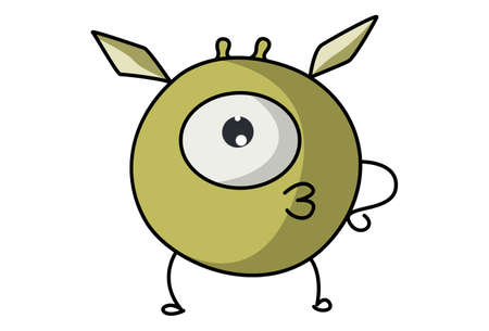 Vector cartoon illustration of cute flying monster is making pout. Isolated on white background. Illustration