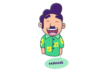 Vector cartoon illustration of boy is laughing. Lettering text Haha. Isolated on white background.