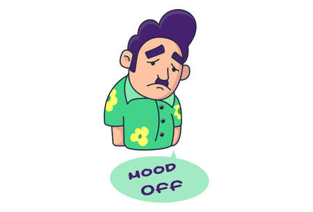 Vector cartoon illustration of boy is upset. Lettering text Mood Off. Isolated on white background.
