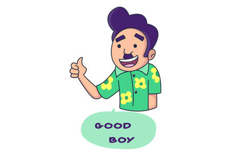Vector cartoon illustration of boy is showing thumbs-up. Lettering text Good Boy. Isolated on white background. Ilustrace