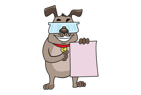 Vector cartoon illustration. Dog is showing a paper. Isolated on white background.