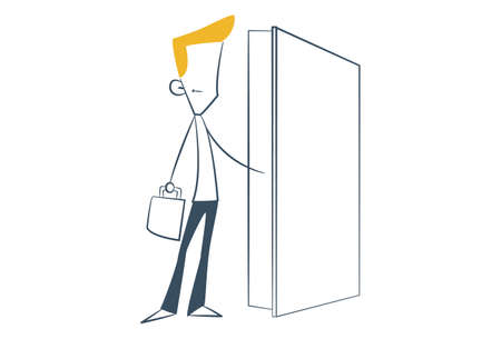 Vector cartoon illustration. Line man is holding a briefcase in hand and opening a door. Isolated on white background.