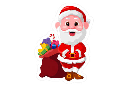 Vector cartoon illustration of Santa Claus with a gift bag. Isolated on white background.