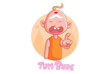 Vector cartoon illustration of crying Indian priest. Tum bure Hindi text translation- you are bad. Isolated on a white background. Ilustracje wektorowe