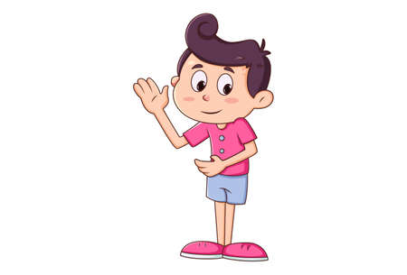 Vector cartoon illustration. Boy is showing slap hand. Isolated on white background.