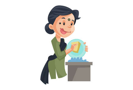 Vector graphic illustration. House maid is cleaning plates of food. Individually on a white background. Çizim