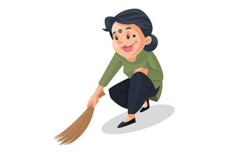 Vector graphic illustration. House maid is a sweeping floor with a broom. Individually on a white background.