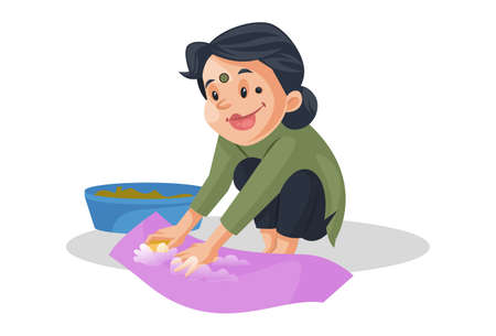 Vector graphic illustration. House maid is cleaning cloths. Individually on a white background. Vector Illustratie