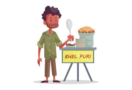 Vector graphic illustration. An Indian vendor is selling bhel puri on stall. Individually on white background.