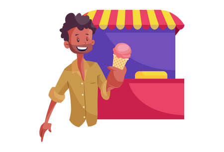 Vector graphic illustration. An Indian vendor is selling ice-cream on street. Individually on white background. Stock Illustratie