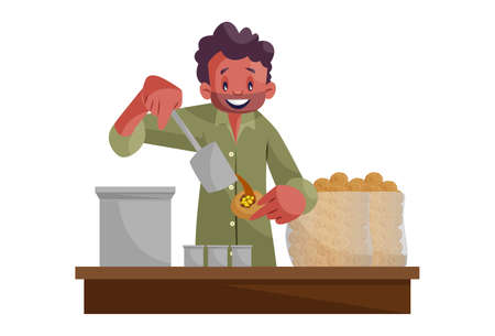 Vector graphic illustration. An Indian man is selling pani puri on street. Individually on white background.