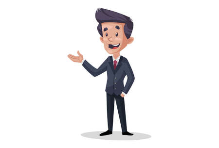 Vector graphic illustration of businessman with hand expression. Individually on white background.