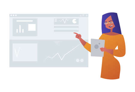 Vector graphic illustration. Business woman is showing a report. Individually on white background.