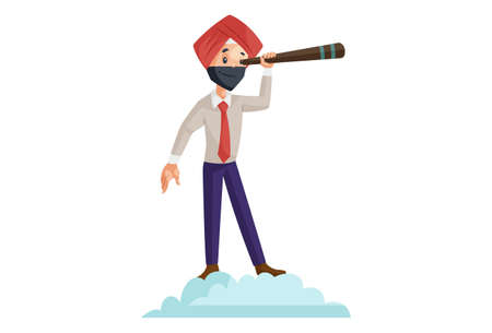 Vector graphic illustration of Punjabi businessman with the telescope. Individually on a white background.