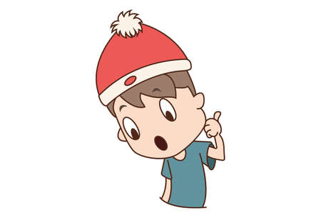Vector cartoon illustration. Boy is giving the thumbs-up sign. Isolated on white background.