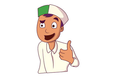 Vector cartoon illustration. Himachali boy is giving a thumbs-up sign. Isolated on white background.