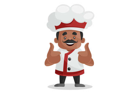 Vector graphic illustration. Indian chef is showing thumbs up sign with both hands. Individually on white background. Vectores