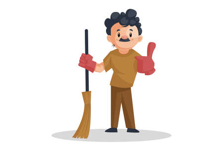Vector graphic illustration. The cleaning man is wearing gloves and holding the broom. Individually on a white background.