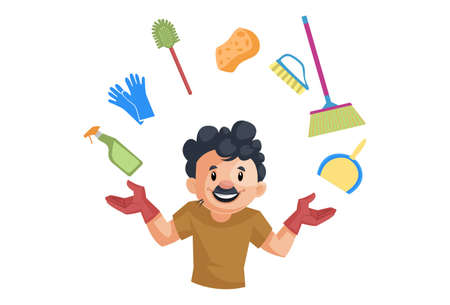 Vector graphic illustration of cleaning man with cleaning equipment. Individually on a white background.