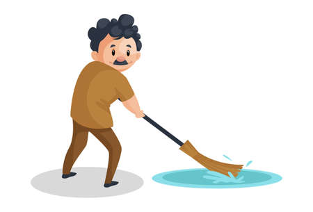 Vector graphic illustration. Cleaning man is cleaning floor water with a broom. Individually on a white background.