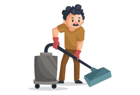 Vector graphic illustration. Cleaning man is cleaning the floor with a vacuum cleaner. Individually on a white background.