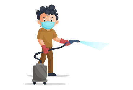 Vector graphic illustration of cleaning man wearing a surgical mask and holding vacuum cleaner. Individually on a white background.