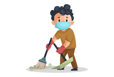 Vector graphic illustration. The cleaning man is wearing a surgical mask and holding a mop in hand. Individually on a white background.