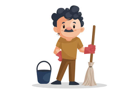 Vector graphic illustration of cleaning man with mop and bucket. Individually on a white background. 矢量图像