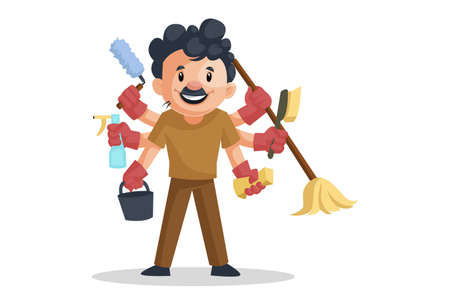 Vector graphic illustration. Cleaning man is doing multitasking with multiple hands. Individually on a white background.