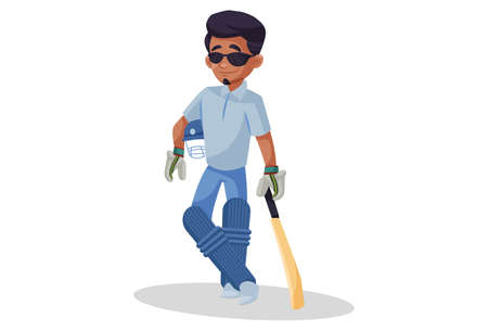Vector graphic illustration. Boy is standing in style with a cricket bat and helmet. Individually on white background. 矢量图像