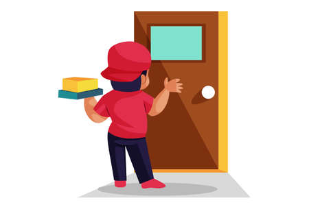 Vector graphic illustration. Pizza delivery boy is knocking the door. Individually on white background.
