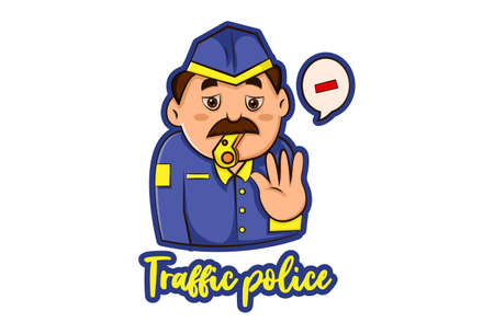 Vector graphic illustration. Traffic policeman is whistling. Lettering text - Traffic police. Individually on a white background.  イラスト・ベクター素材