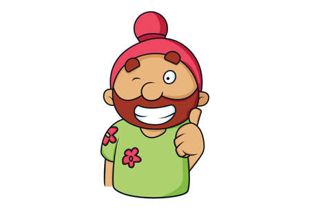 Vector cartoon illustration. Punjabi Sardar is giving the thumbs-up sign. Isolated on white background.