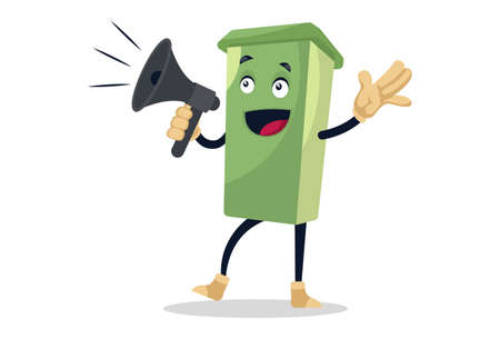 Vector graphic illustration. Dustbin is announcing with the megaphone. Individually on white background.