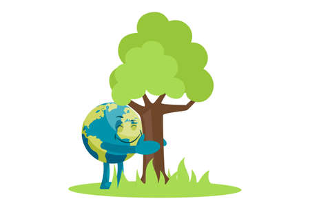 Vector graphic illustration of earth holding a tree with hand. Individually on a white background. Vettoriali
